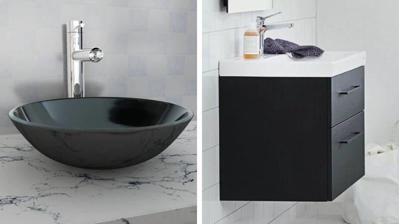 Mørk og svart innredning til små bad & gjestetoalett